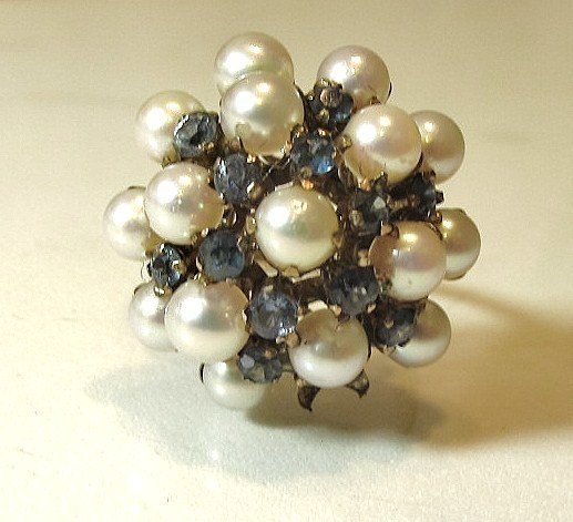 9: 14K Yellow Gold Seed Pearl And Blue Sapphire Ring