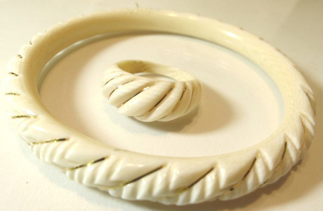 15: Carved Ivory Bangle & Matching Ring