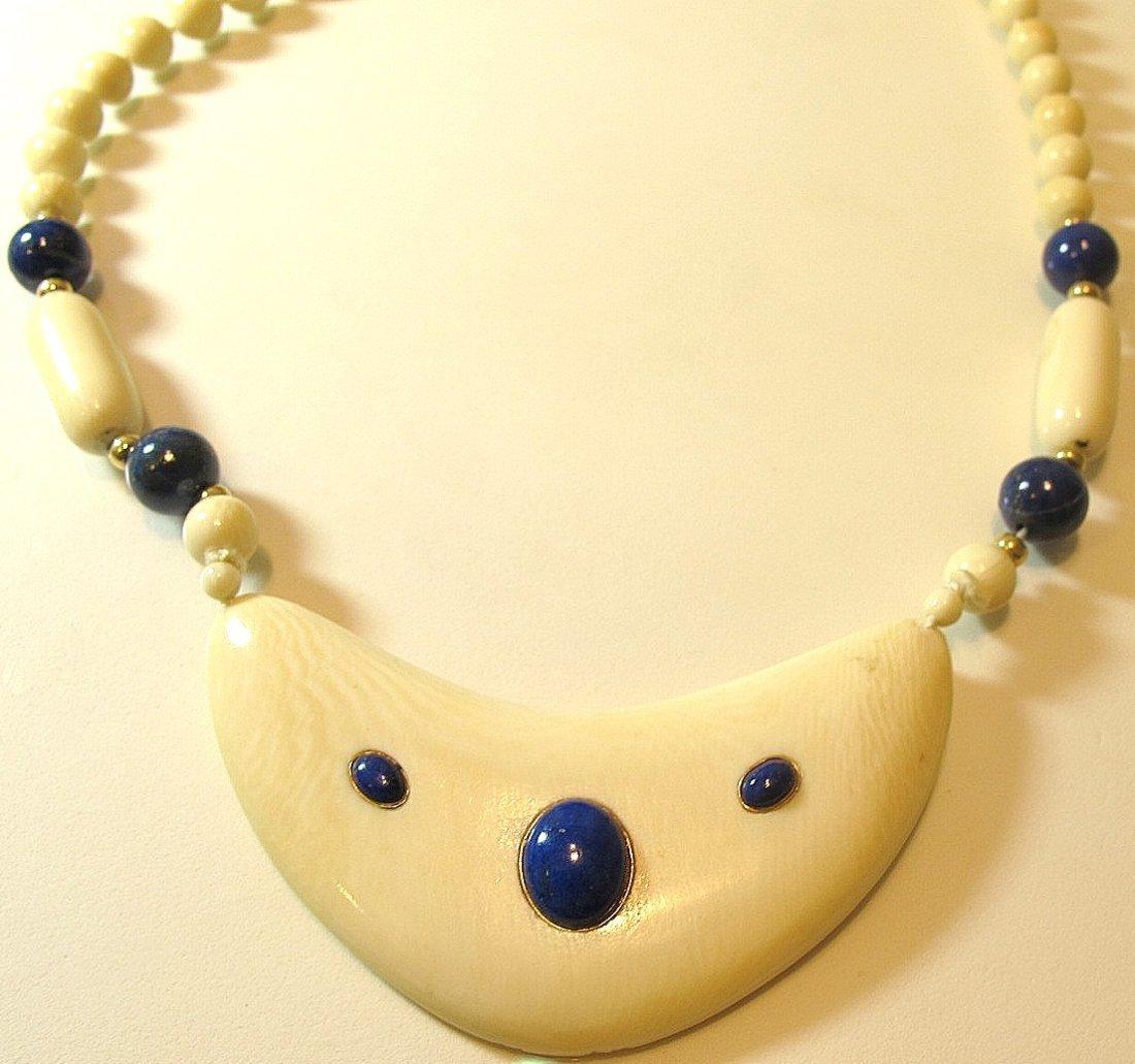 17: Ivory & Lapis Necklace