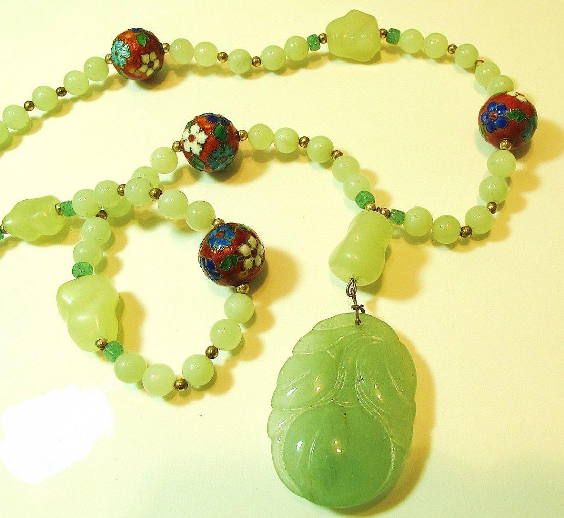 20: Jade, Sterling & Enamel Ball Necklace