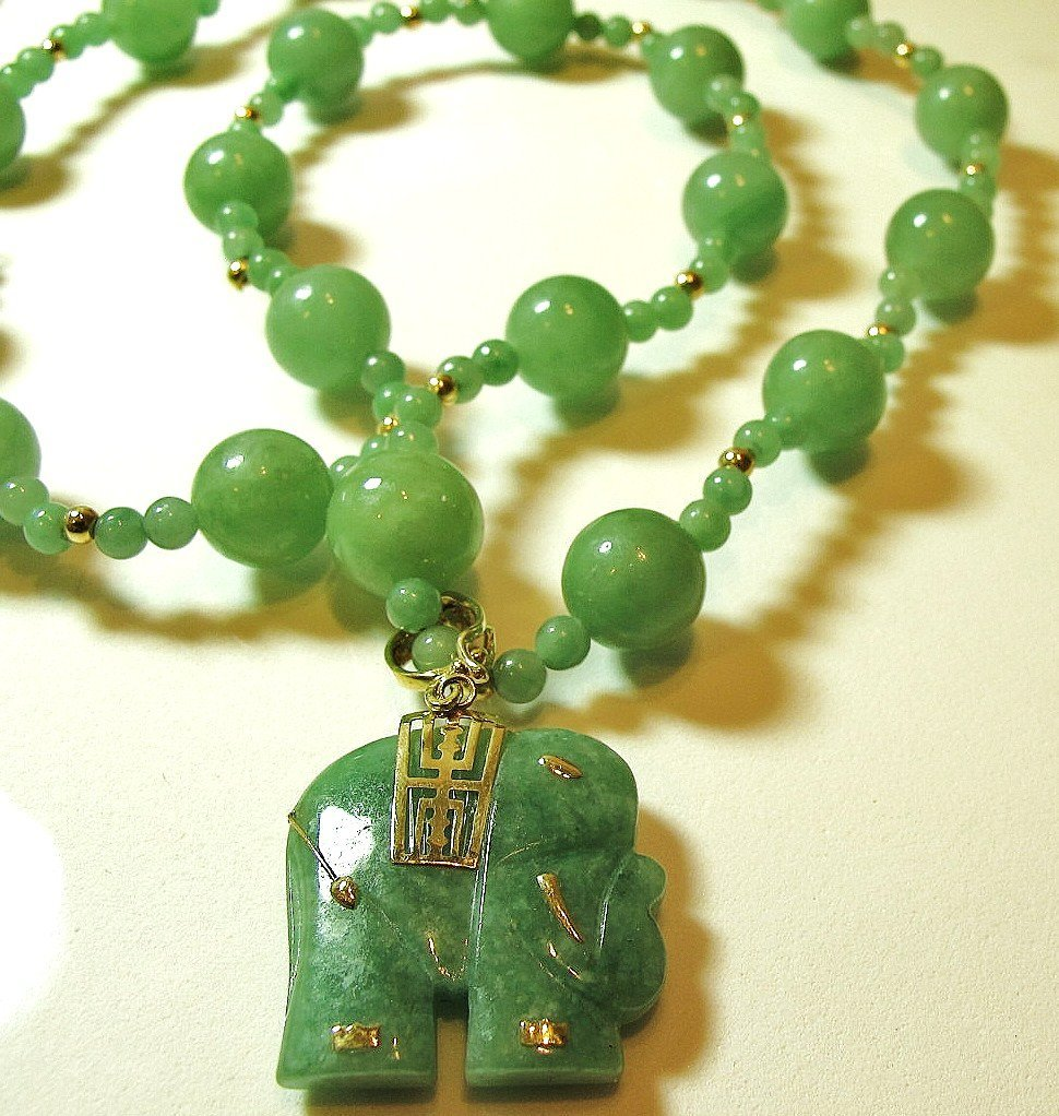 21: 14K Yellow Gold Jade Necklace