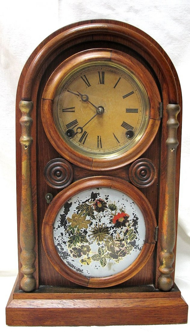 127: Antique Mantle Clock, Reverse Oil on Glass ca1850