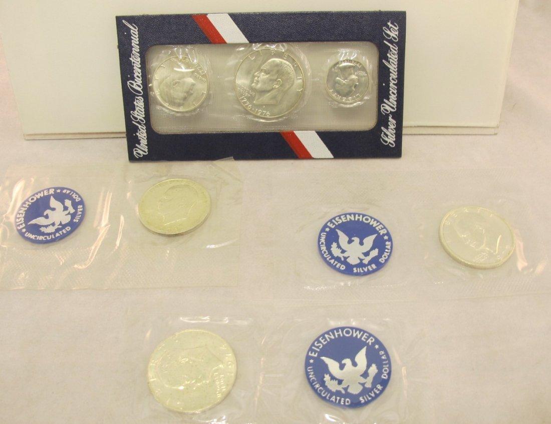 12: 1971, 1972, 1974 Eisenhower Silver Dollars and a Bi
