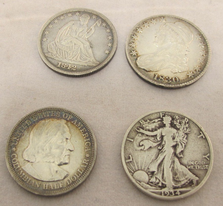 19: Lot of Four 90% Hallf Dollars 1830, 1842, 1892, 193