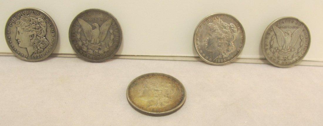 21: Five Morgan Silver Dollars, 1881, 1855-O, 1891-O, 1