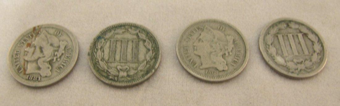 22: Four Three Cent Pieces 1865, 1868, 1881, 1881