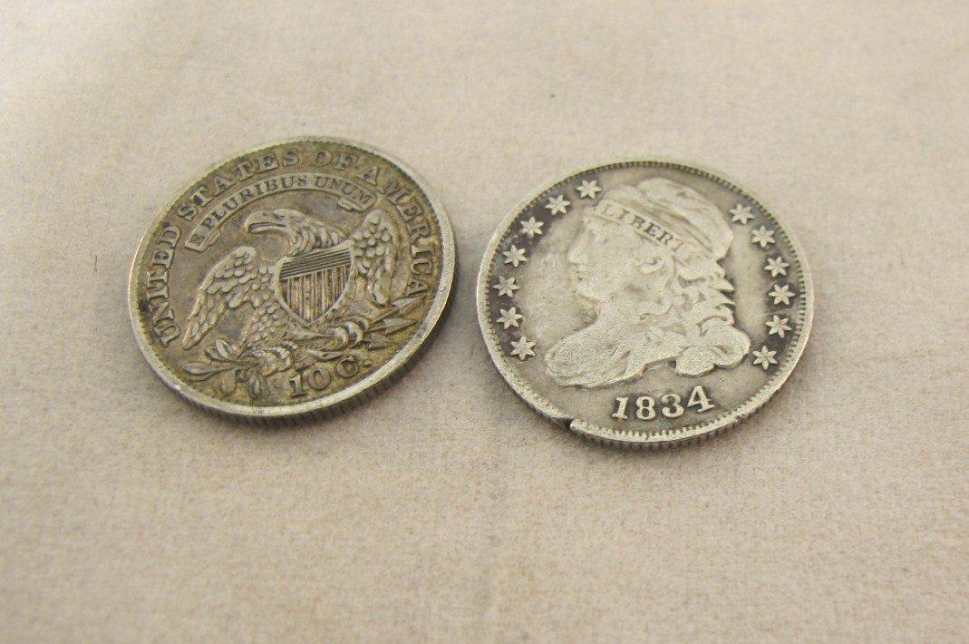 23: Two Ten C Dimes 1833, 1834