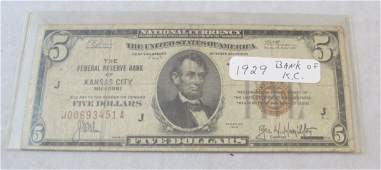 155 1929 National Currency Bank of Kansas City Five Do