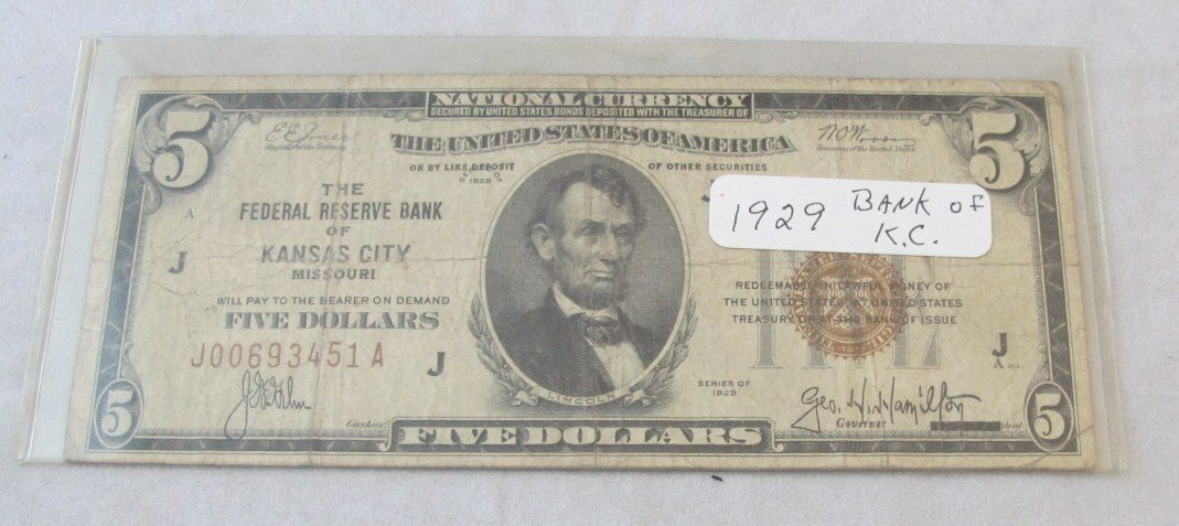 155: 1929 National Currency Bank of Kansas City Five Do