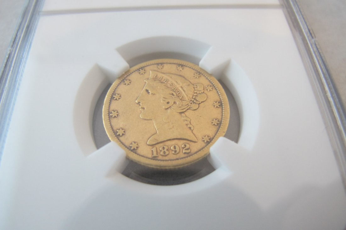 322: NGC XF40 1892 CC Five Dollar Gold