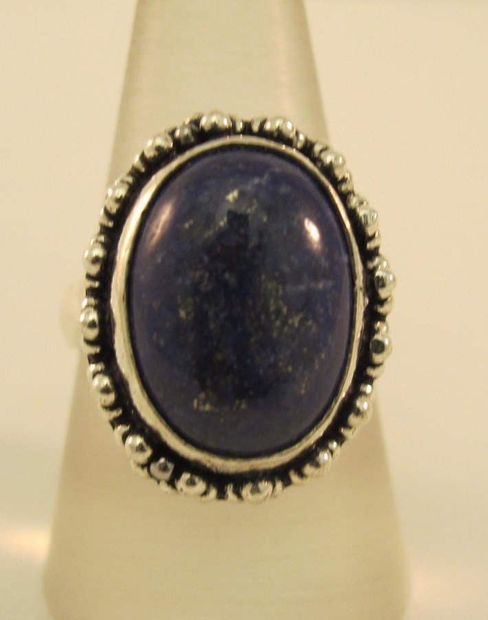1: German Silver And Lapis Ring