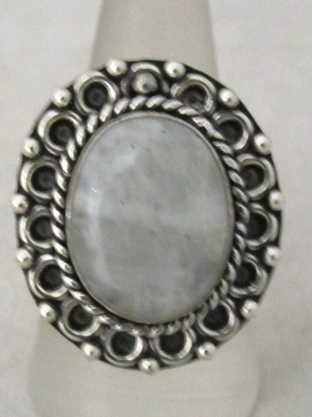 3: German Silver And Moonstone Ring