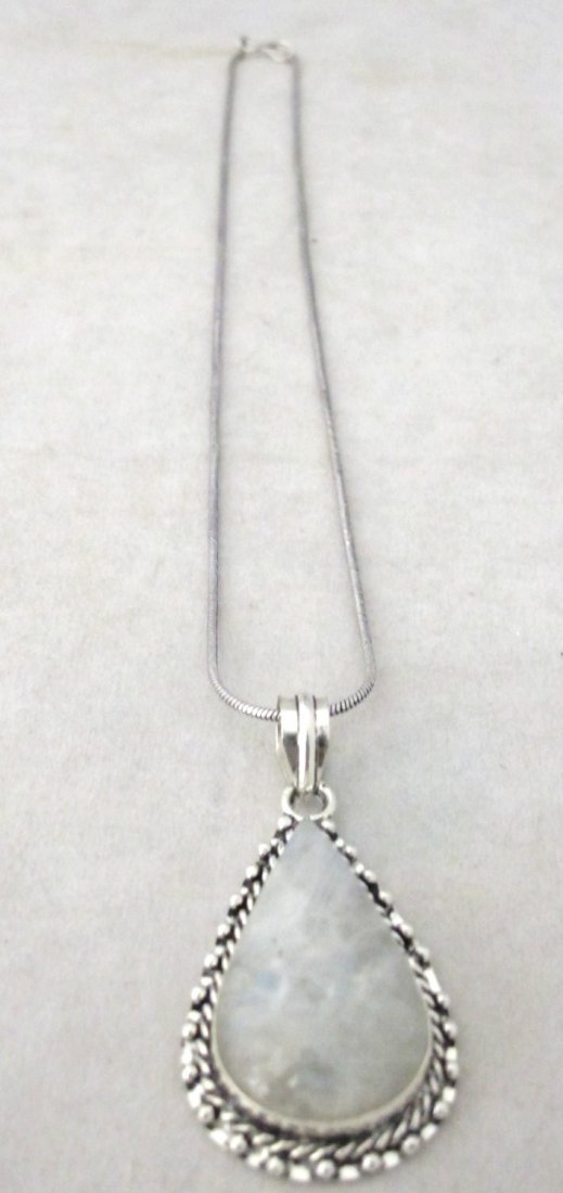 4: German Silver And Moonstone Drop Pendant Necklace