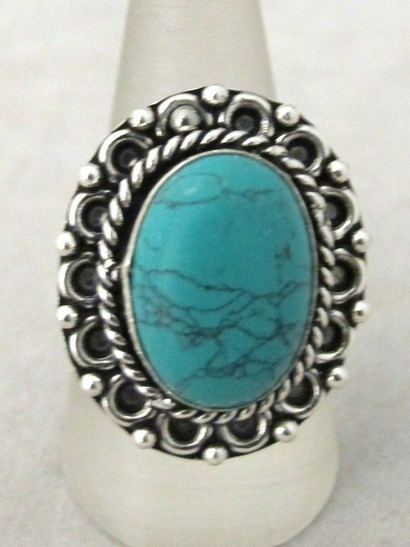 5: German Silver And Turquoise Ring