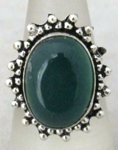 7: German Silver And Green Onyx Ring
