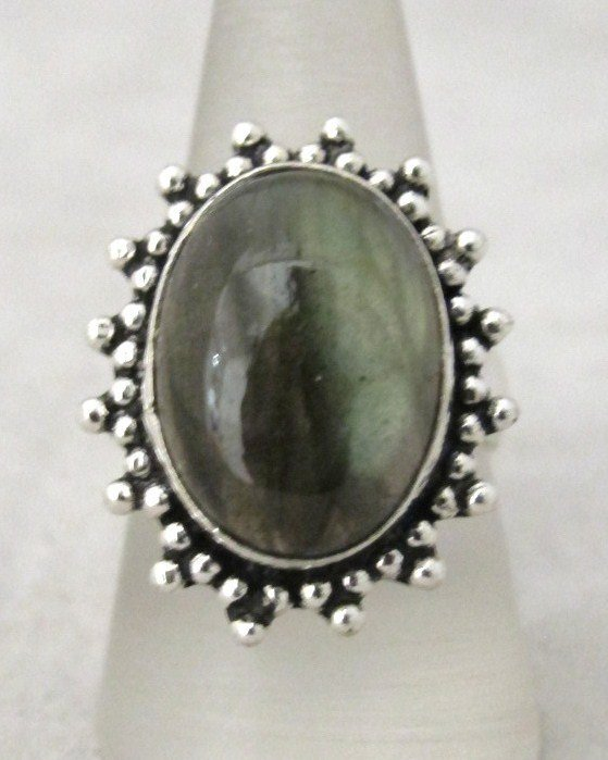 8: German Silver And Quartz Ring