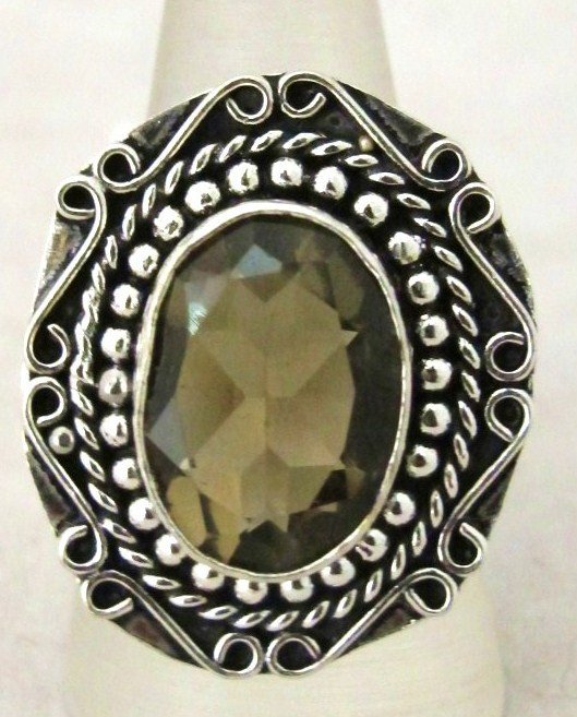 11: German Silver And Lab Created Smokey Topaz Ring