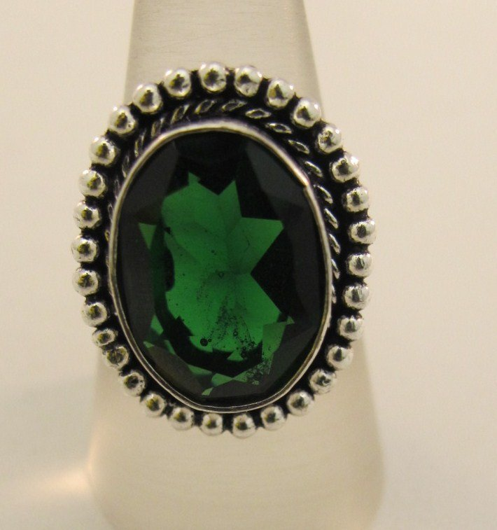 12: German Silver And Lab Created Emerald Ring
