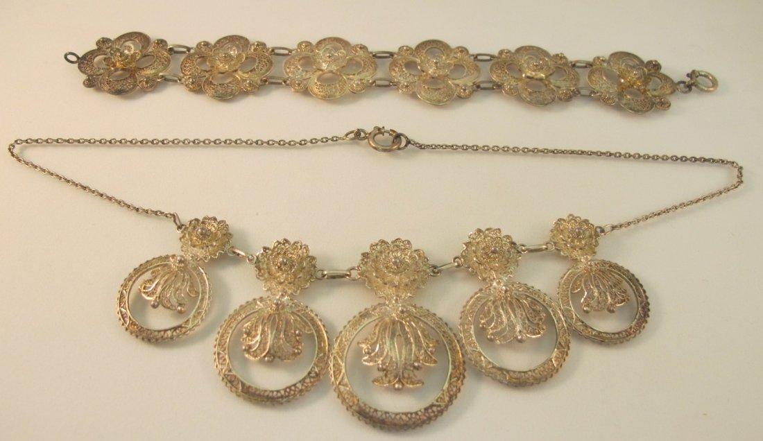 15: Sterling Silver Portuguese Floral Filagree Bracelet