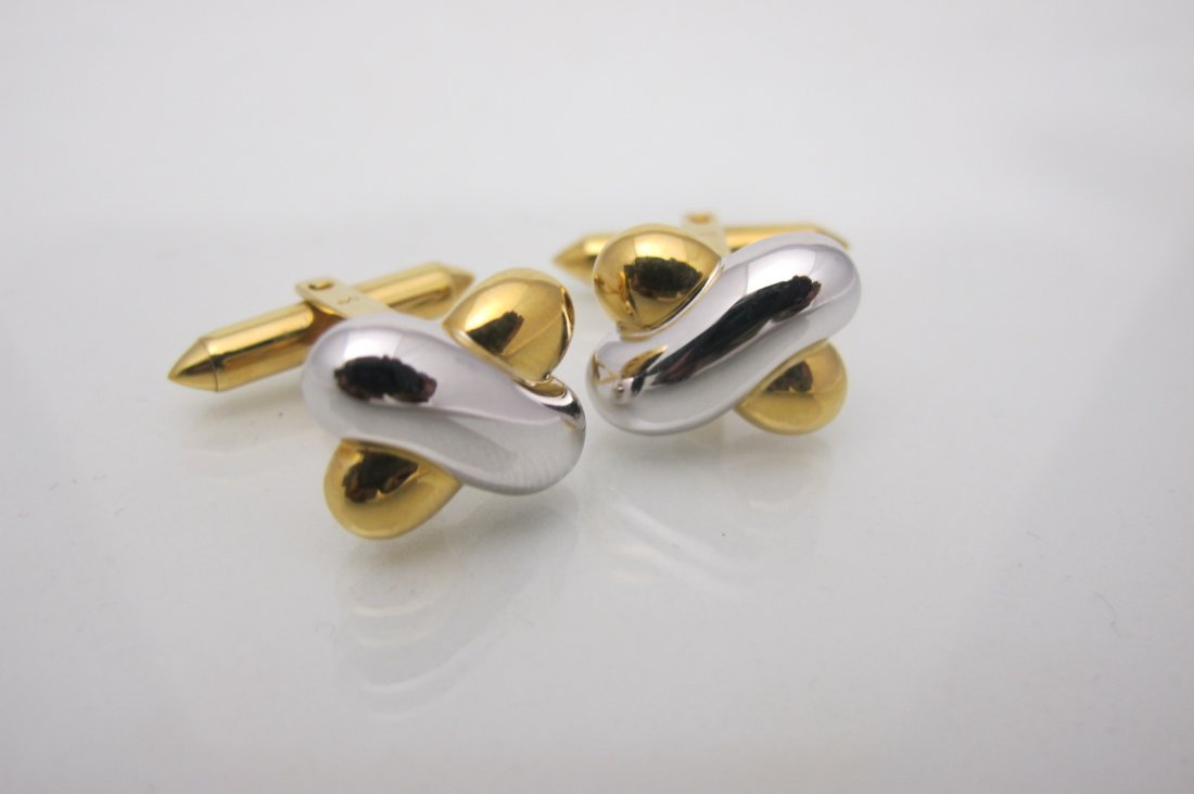 24: 18K Yellow Gold & White Gold Cuff Links, 9.34grams