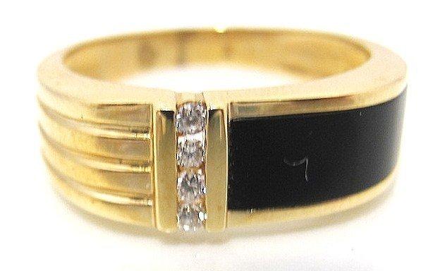 25: 14K Yellow Gold Black Onyx & Diamond Gents Ring, We