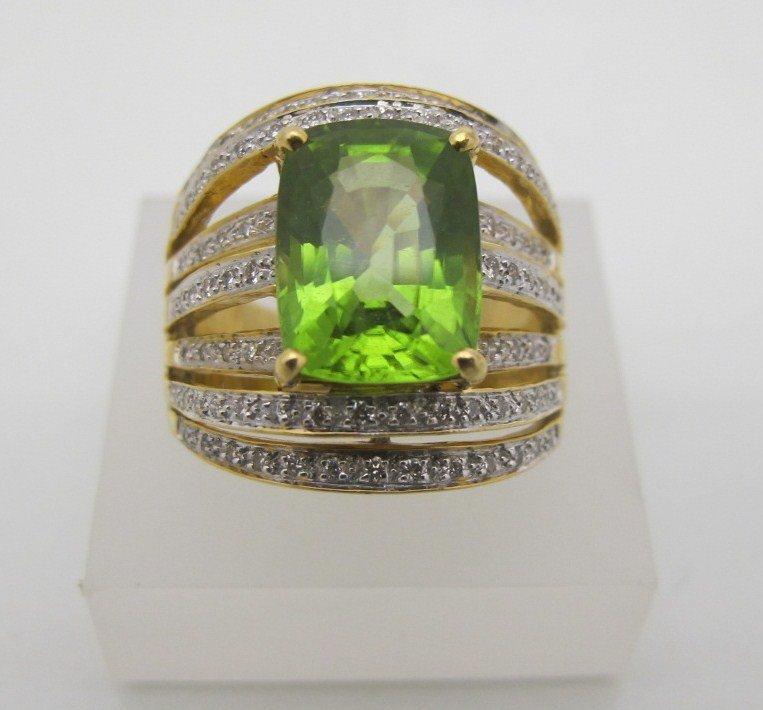 30: 18K Yellow Gold Peridot & Diamond Ring Containing O