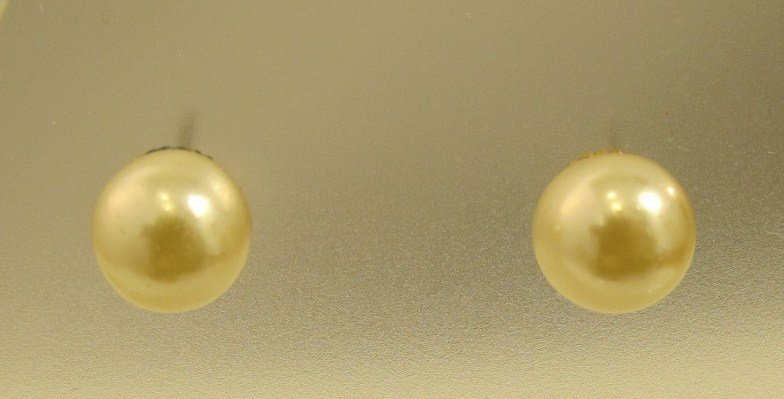 14K Yellow Gold 8mm Pearl Earrings