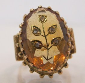 14K Yellow Gold Carved Citrine & Diamond Ring