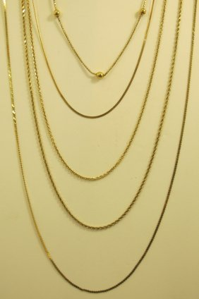 5- 14K Yellow Gold Chains, 10.81dwt