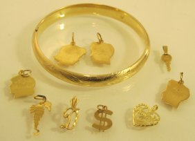 Lot Of 14K Yellow Gold Bangle Bracelet & Charms, 10.46d