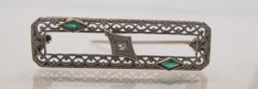 14K White Gold Emerald & Diamond Pin, Ca. 1920