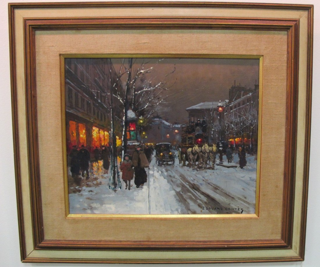 French Street Scene by Edouard Cortes, 15x18, Oil on Ca