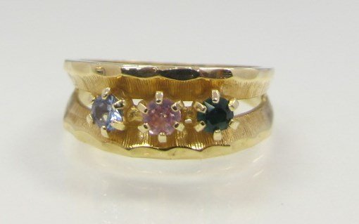 14K Yellow Gold Pink Tourmaline, Zircon & Green Stone
