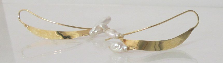 14K Yellow Gold Seed Pearl Earrings