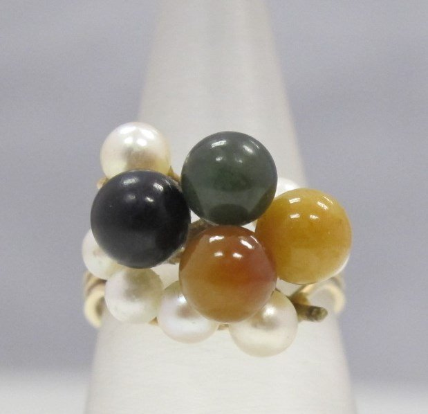 14K Yellow Gold Seed Pearl and Jade Pearl Ring