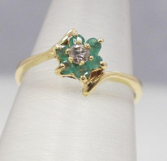 14K Yellow Gold Emerald and Diamond Ring