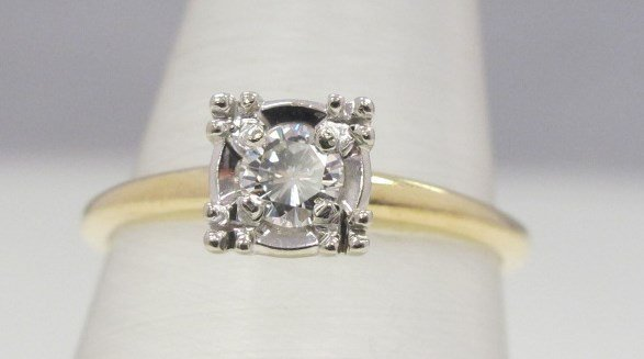 14K Yellow Gold & White Gold Diamond Solitaire Ring