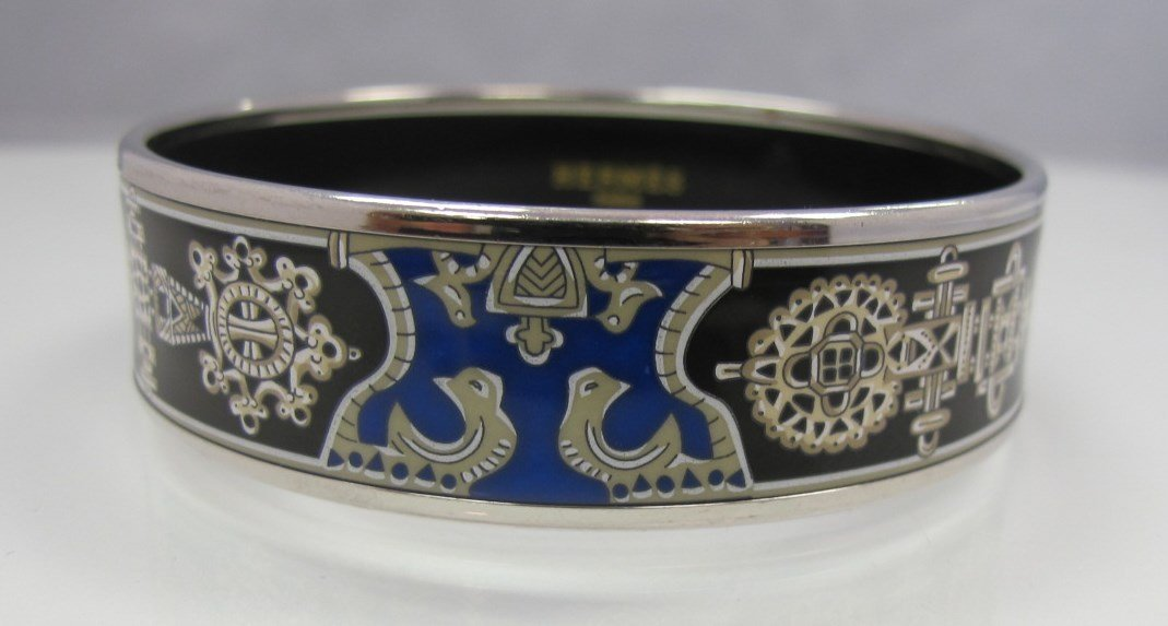Hermes, Paris Painted Enamel Bangle Bracelet