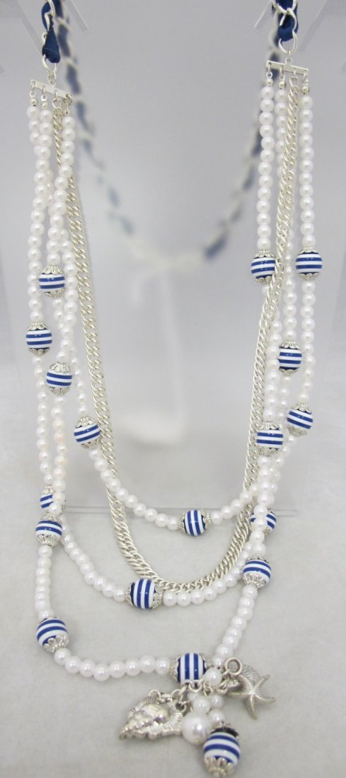 "Nautical Faux Pearl Beaded 42"" Necklace"