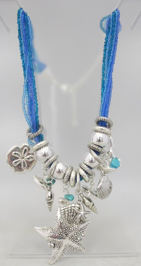 "Seashell & Five Strand Beaded 18"" Necklace"