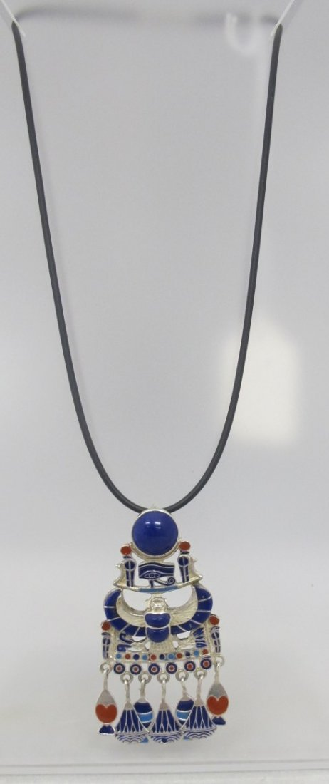 Egyptian Sterling Silver & Lapis Drop on Leather Cord,