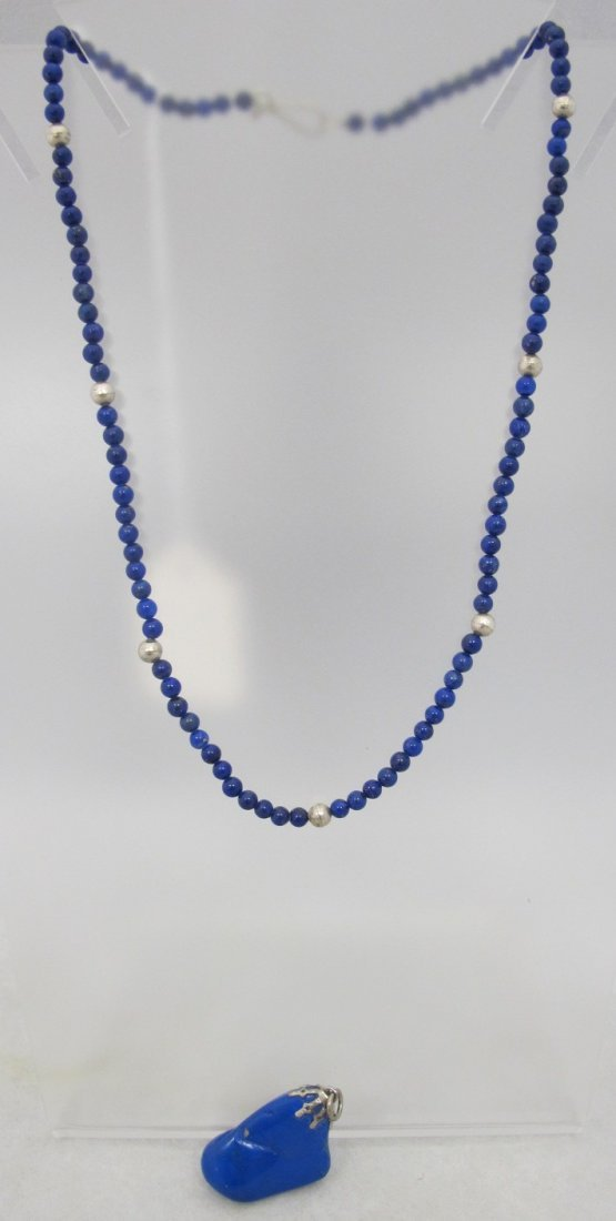 Lapis Bead Necklace w/ Lapis Drop
