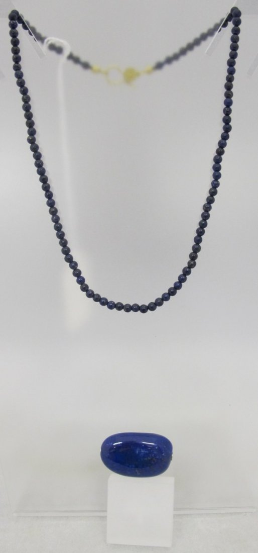 Lapis Bead Necklace w/ Lapis Drop, Drop Catch is Broken