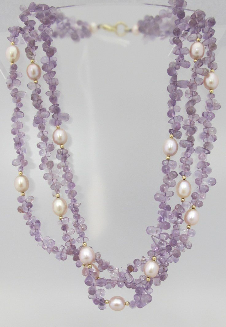 Three Strand Amythest Bead Necklace with Freshwater