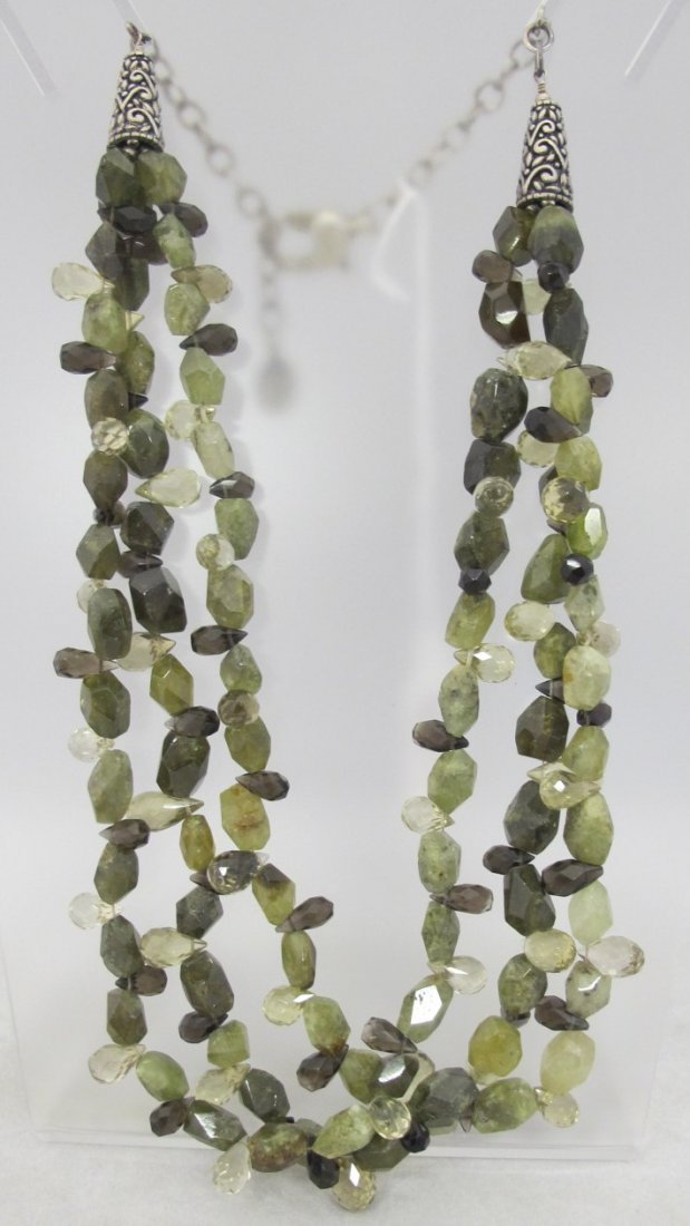 Shannon Diego Sterling Silver & Three Strand Green