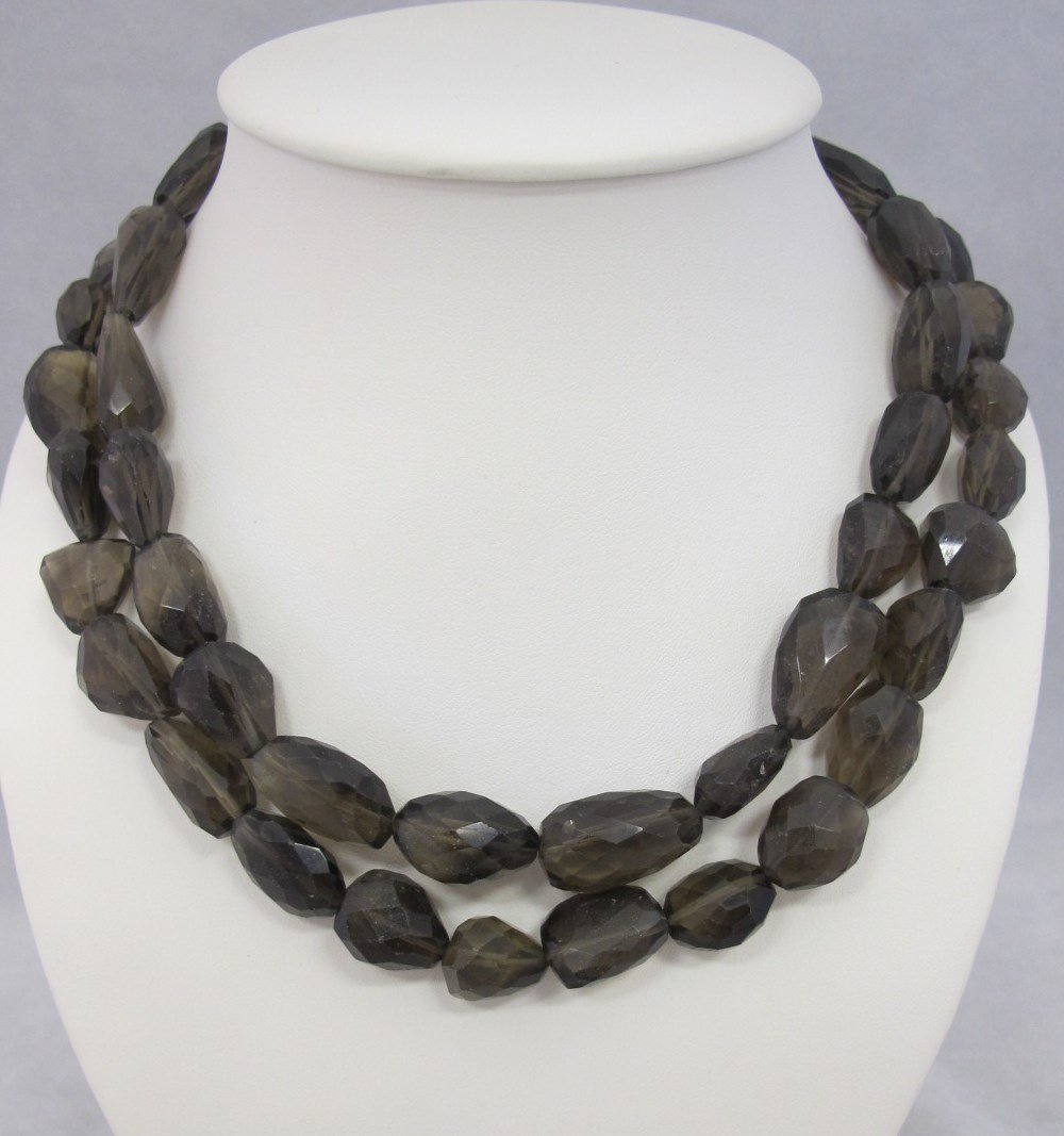Double Strand Smokey Topaz Necklace with Sterling