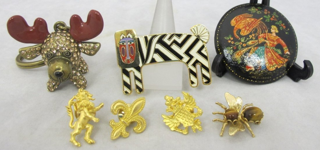Collection of Pins to Include: Lion, Fleur de Lei,