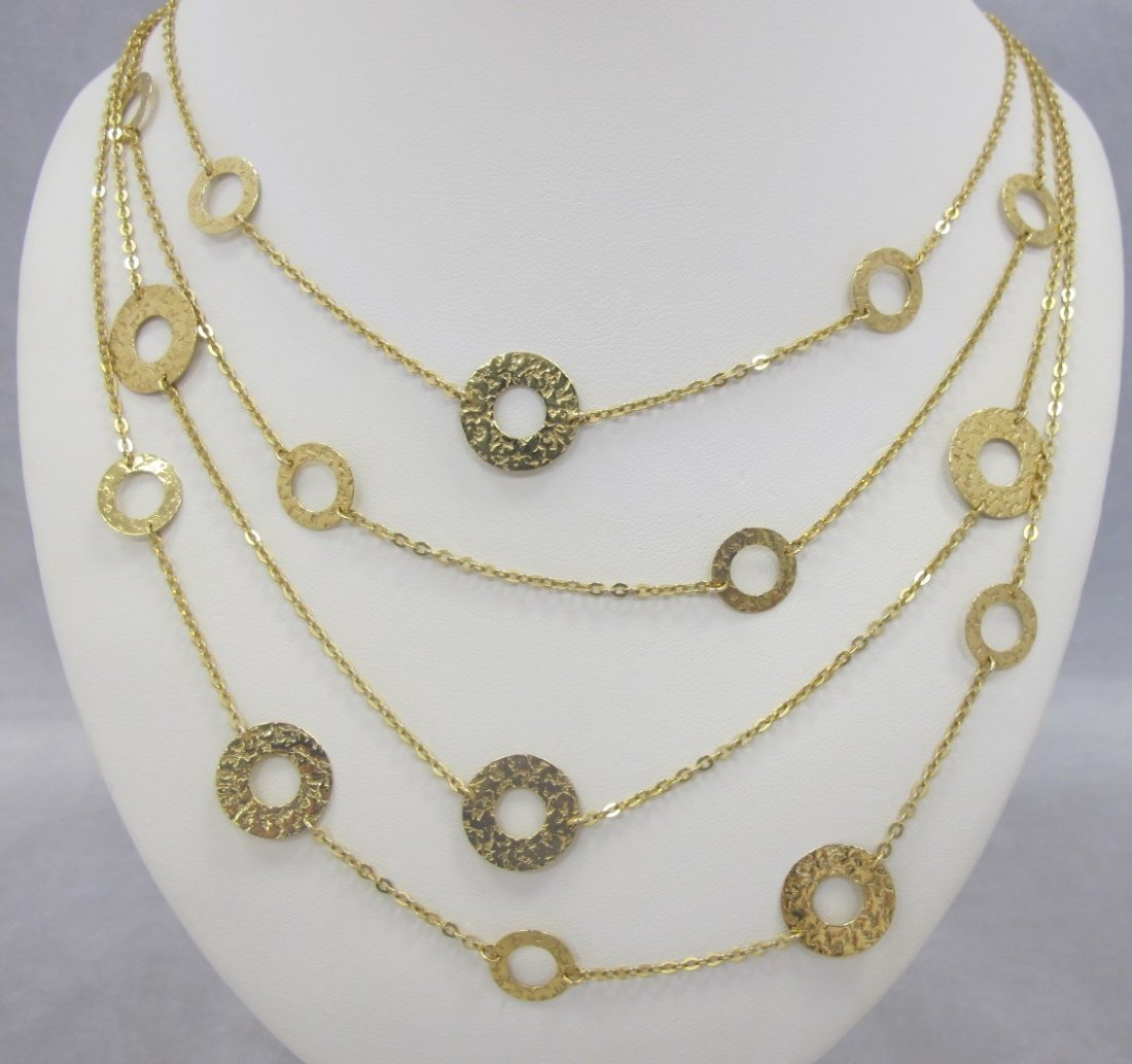 Gold Plated Four Stand Fashion Necklace