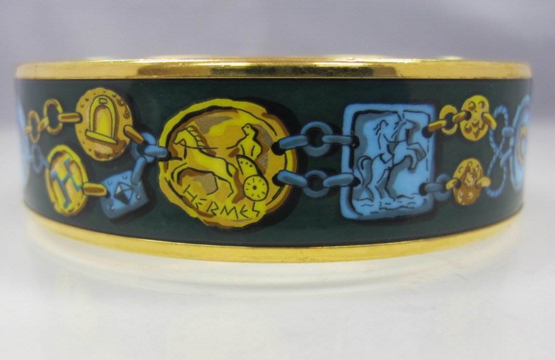 Hermes, Paris Painted Enamel Bangle Bracelet Stamped