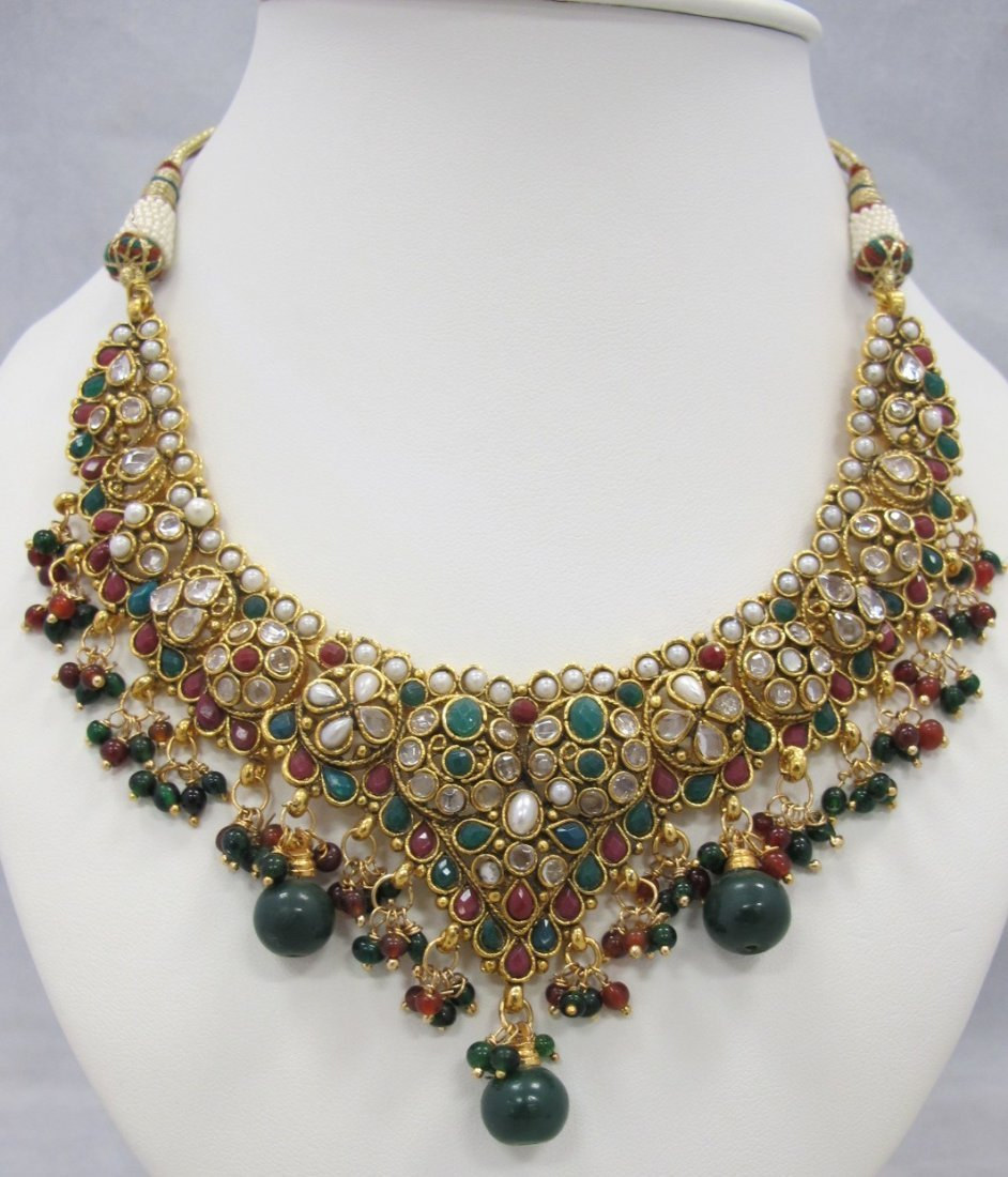 22K on Sterling Silver Emerald, Ruby, Pearl and White